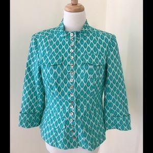 Nanette Lepore SZ 10, green combo blazer .